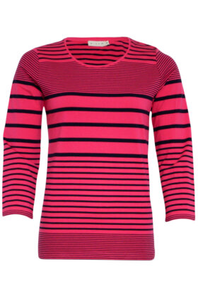 MICHA - Stribet T-shirt - Blokstriber - Marine