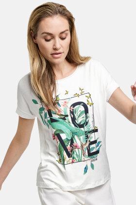 GERRY WEBER - EcoVero T-shirt - Eksotisk Print - Off White