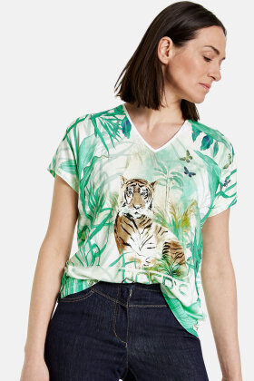 GERRY WEBER - EcoVero T-shirt - Mønster Mix - Mint