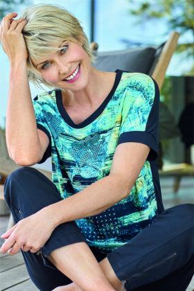 BRANDTEX - T-shirt - Floralt Tema - Turkis