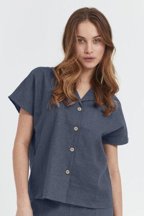 PULZ - Pz Bianca Shirt - Regular Løst Fit - Blå
