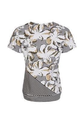 BASSINI - Fest T-shirt - Grafisk Print - Khaki