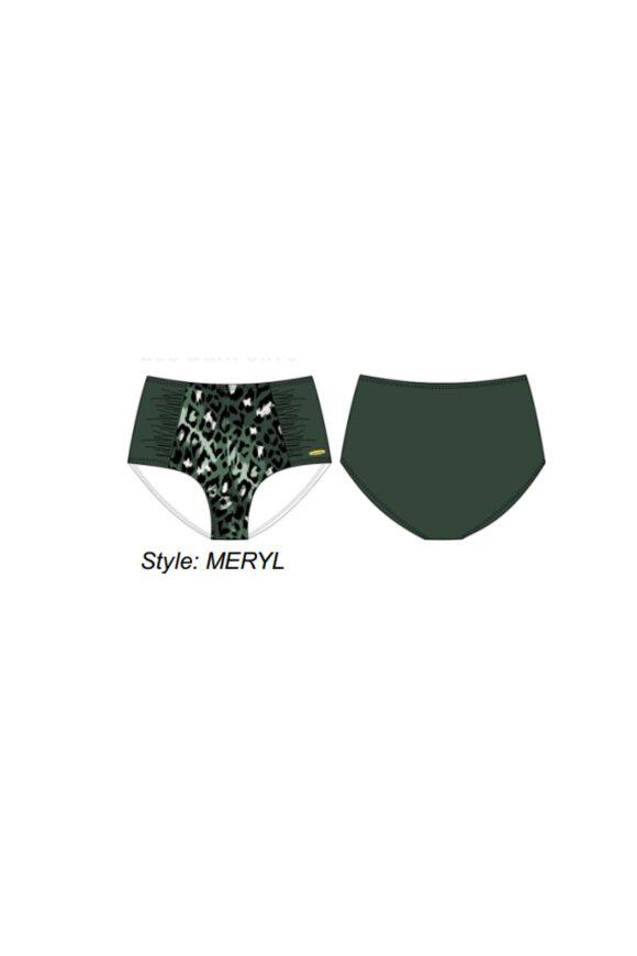 DAMELLA - Meryl Leopard Maxi Bikini Trusser - Oliven