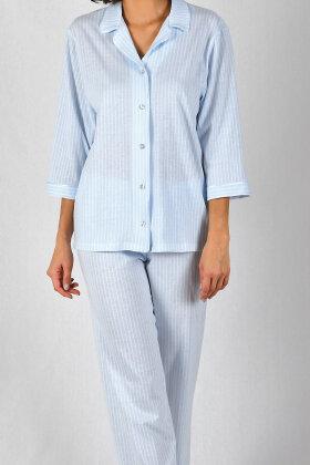 NATURANA - Stribet Pyjamas - Lyseblå