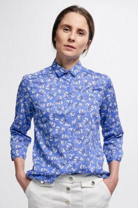ETERNA - Blå Skjorte - Hvid Blomstret