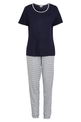 DAMELLA - Pyjamas i Bambus - Print & Marine
