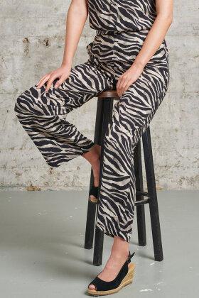 SMASHED LEMON - Zebra Print Bukser 7/8 del - Sort