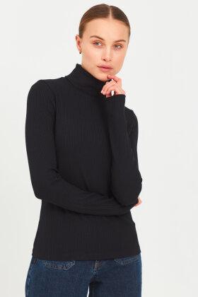 PULZ - Pz-Roxanne Højhalset Bluse - Sort