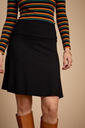 KING LOUIE - Border Skirt Uni Milano - Jersey Nederdel - Sort