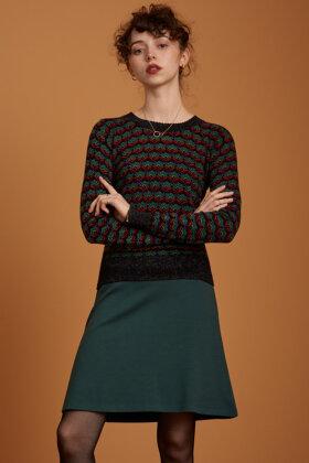 KING LOUIE - Border Skirt Uni Milano - Jersey Nederdel - Mørkegrøn