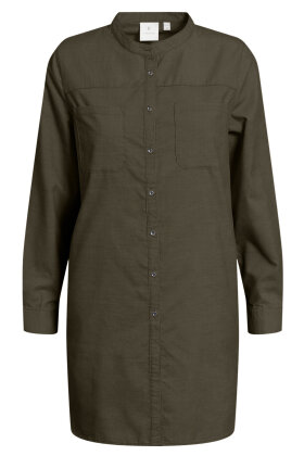 B. COASTLINE - Long Shirt - Mini Fløjl - Normal Fit - Mørkegrøn