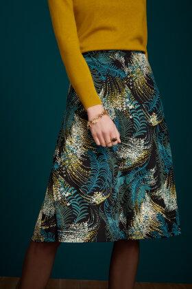 KING LOUIE - Juno Midi Skirt Devon - Print Nederdel - Sort