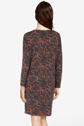 FEMILET - Yara Big Shirt - Natkjole - All-Over Print - Mørkegrå