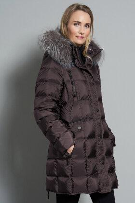 JUNGE - Mary Dunjakke - Sølvræv - Mørkebrun Shiny