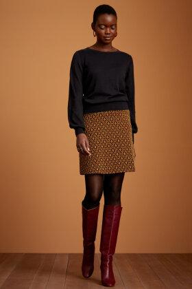 KING LOUIE - Border Skirt Honeycomb - Nederdel - Guldglimmer - Sort