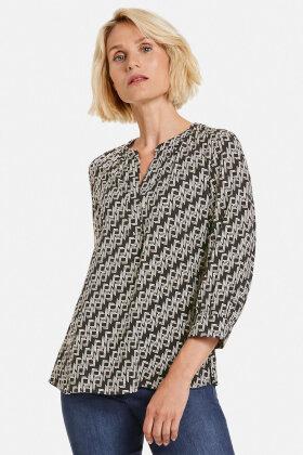 GERRY WEBER - Grafisk Print Bluse - Sort