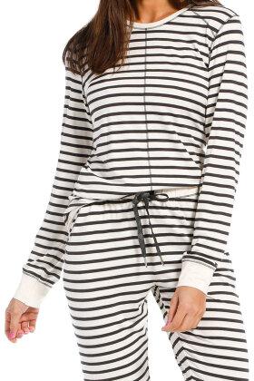 REBELLE - Stribet Casual Pyjamas - Off White Melange