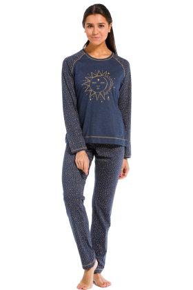 REBELLE - Pyjamas - Måne Afløser Sol Print - Mørkeblå
