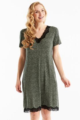 DAMELLA - Natkjole - Dyreprint Blonde - Oliven grøn