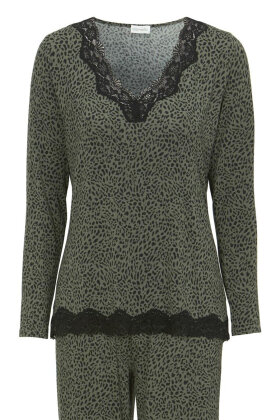 DAMELLA - Pyjamas - Dyreprint Blonde - Oliven grøn