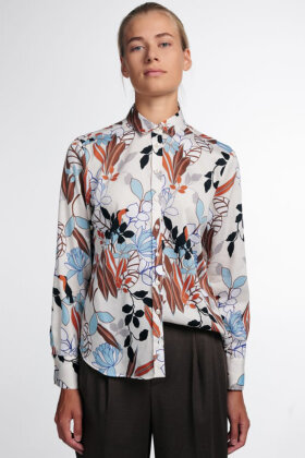 ETERNA - Blomstret Print Skjorte - Classic Fit - Off White