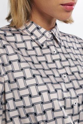 ETERNA - Satinvævet Print Skjorte - Sandfarvet