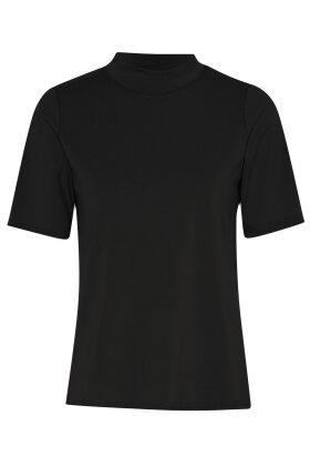 MICHA - Kortærmet Turtleneck Basis T-shirt - Sort