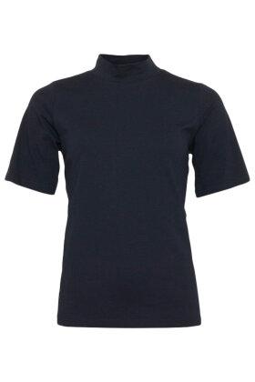 MICHA - Kortærmet Turtleneck Basis T-shirt - Mørkeblå